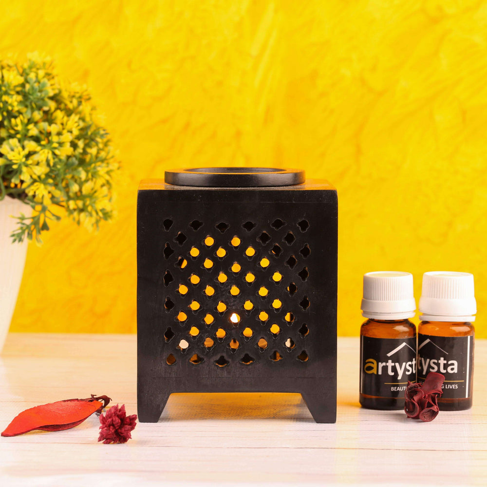Black Aroma Oil Burner With Fragrances - artystagallery