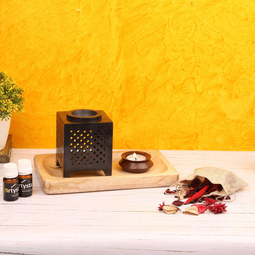 Black Aroma Oil Diffuser Set With Wooden Platter / Gift Item - artystagallery