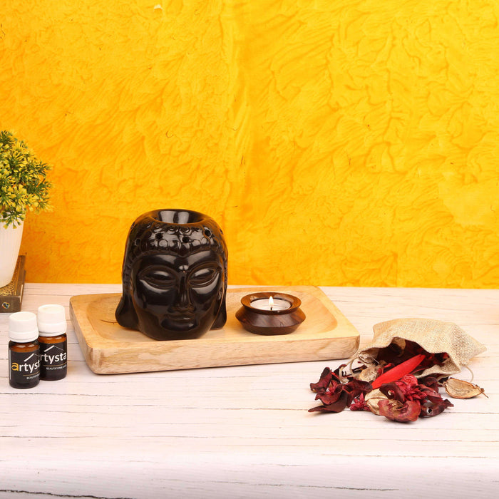 Black Buddha Shaped Aroma Oil Diffuser With Mango Wooden Tray/ Gift Item - artystagallery