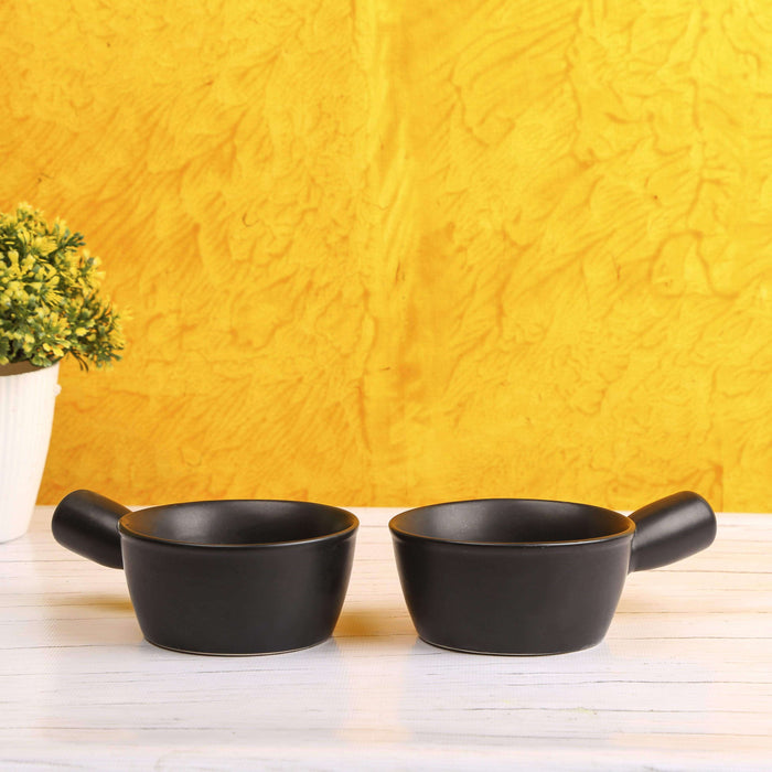 Black Ceramic Servings Bowls Set of 2 - artystagallery