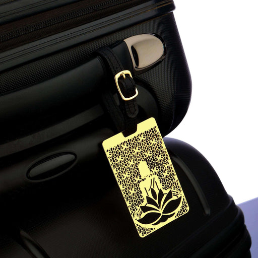 Buddha Brass Metal Travel Luggage Suitcase Label ID Tag with genuine leather straps - artystagallery