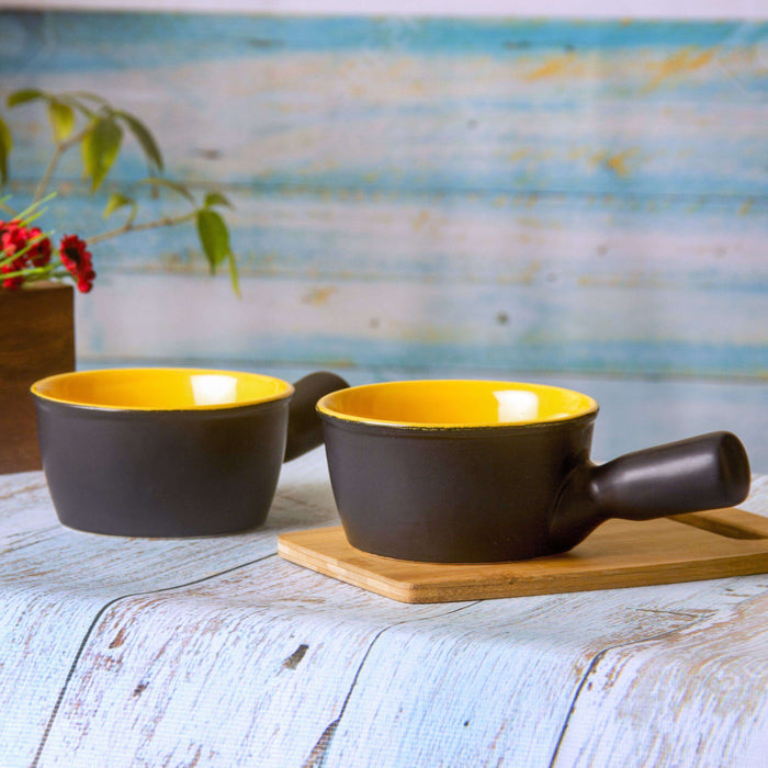 Ceramic Black And Yellow Serving Bowls Set Of 2/ Soup Bowls - artystagallery