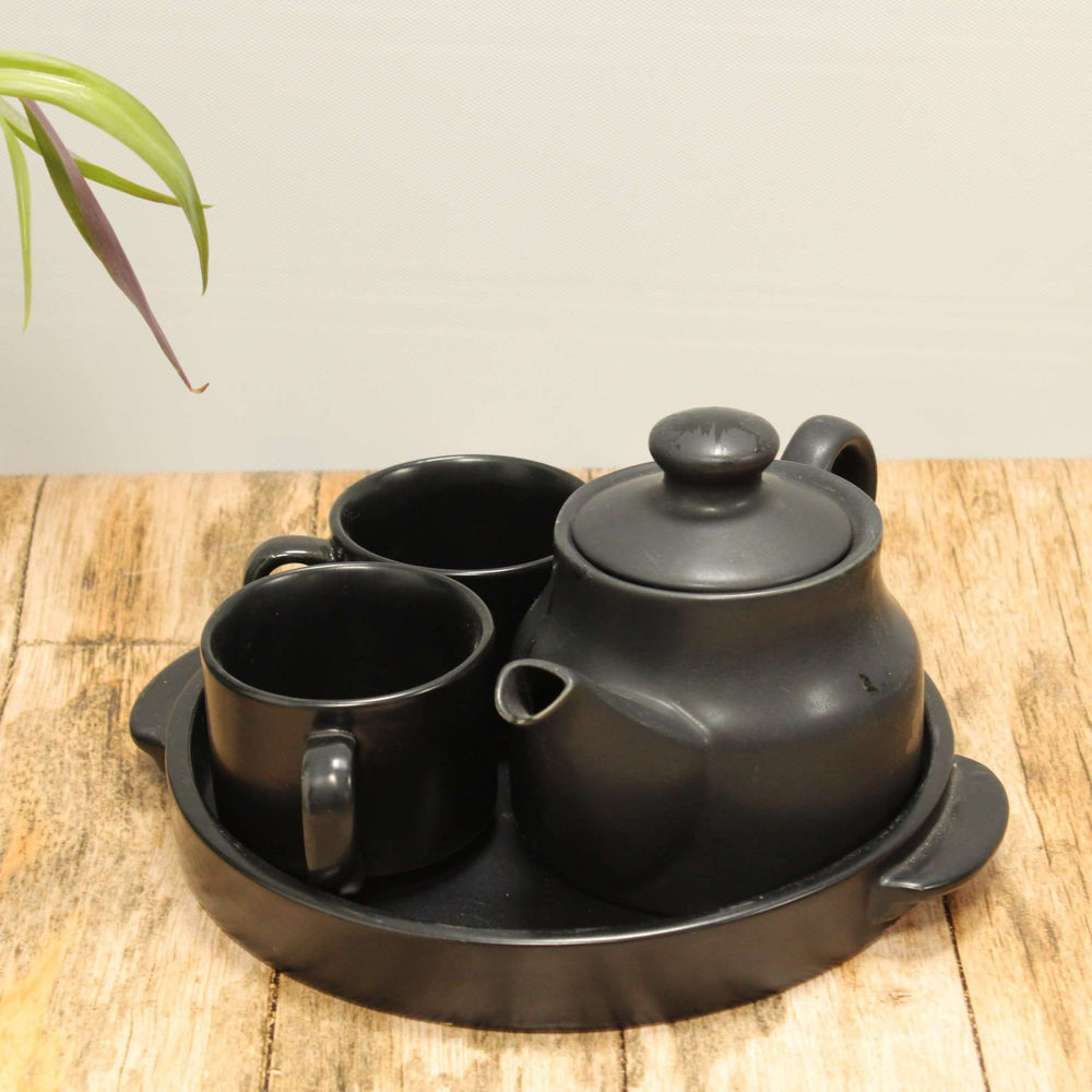 Ceramic Black Tea Pot With Cups And Tray / Kettle Set - artystagallery