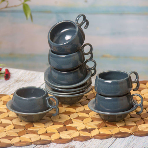 Ceramic Coffee Mugs /Tea Cups With Saucer Set of 6 - artystagallery