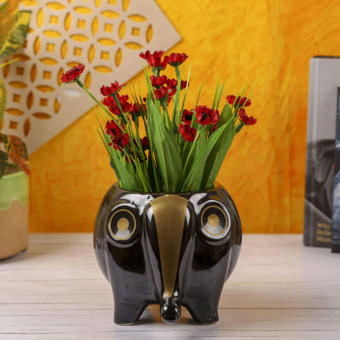 Ceramic Indoor Planter For Garden | Handmade Black Ceramic Elephant Planter For Home - artystagallery