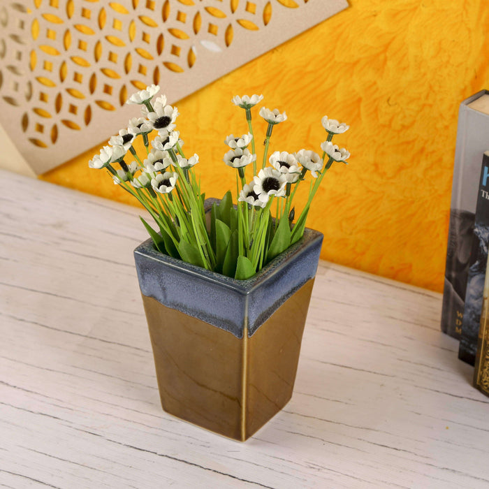 Ceramic Indoor Trapeze Planter | Handmade Pot Planter For Home - artystagallery