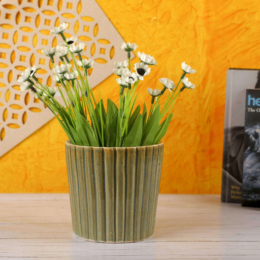 Ceramic Indoor Vase Planter - Lines | Handmade Pot Planter For Home - artystagallery