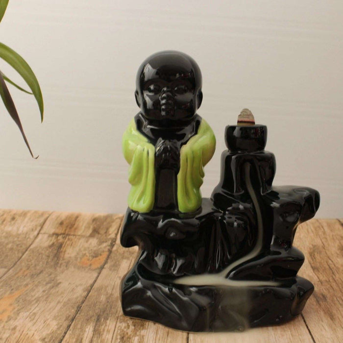 Ceramic Monk Backflow Waterfall Smoke Incense Burner - artystagallery