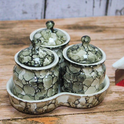Ceramic Pickle & Chutney Jars With Lids And Tray Set of 3