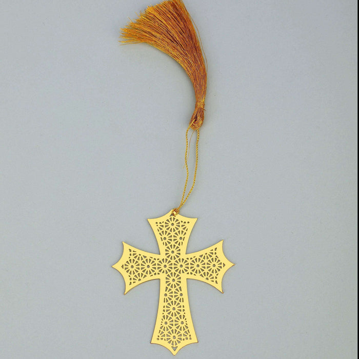 Christian Cross Symbol Golden Brass Metal Bookmark with Golden Tassel - artystagallery