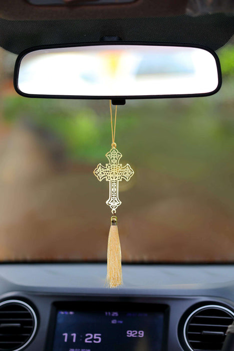 Christian Jesus Cross Hanging Accessories for Car Decor in Brass - artystagallery