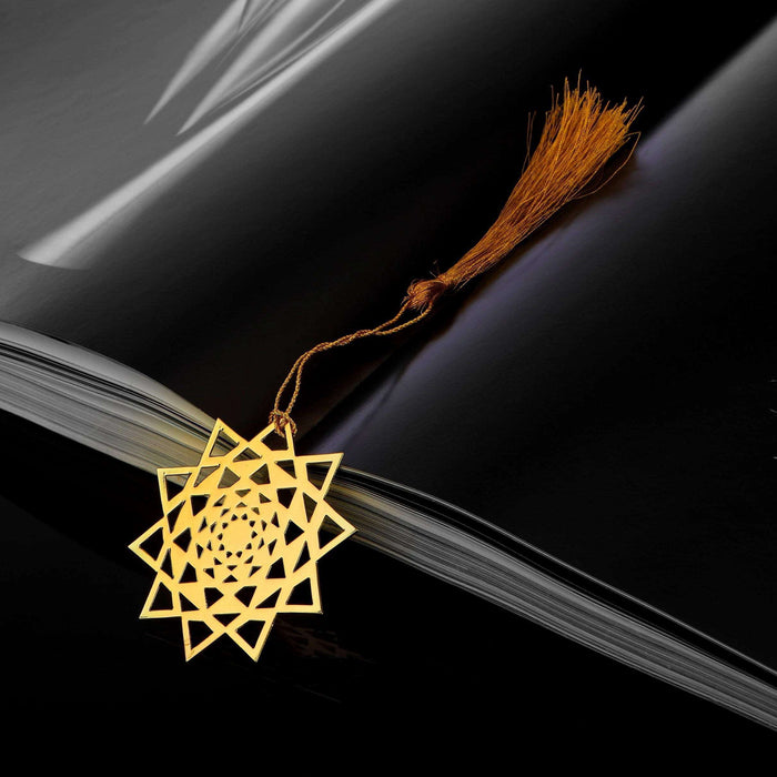 Concentric Triangles Golden Brass Metal Bookmark with Golden Tassel - artystagallery