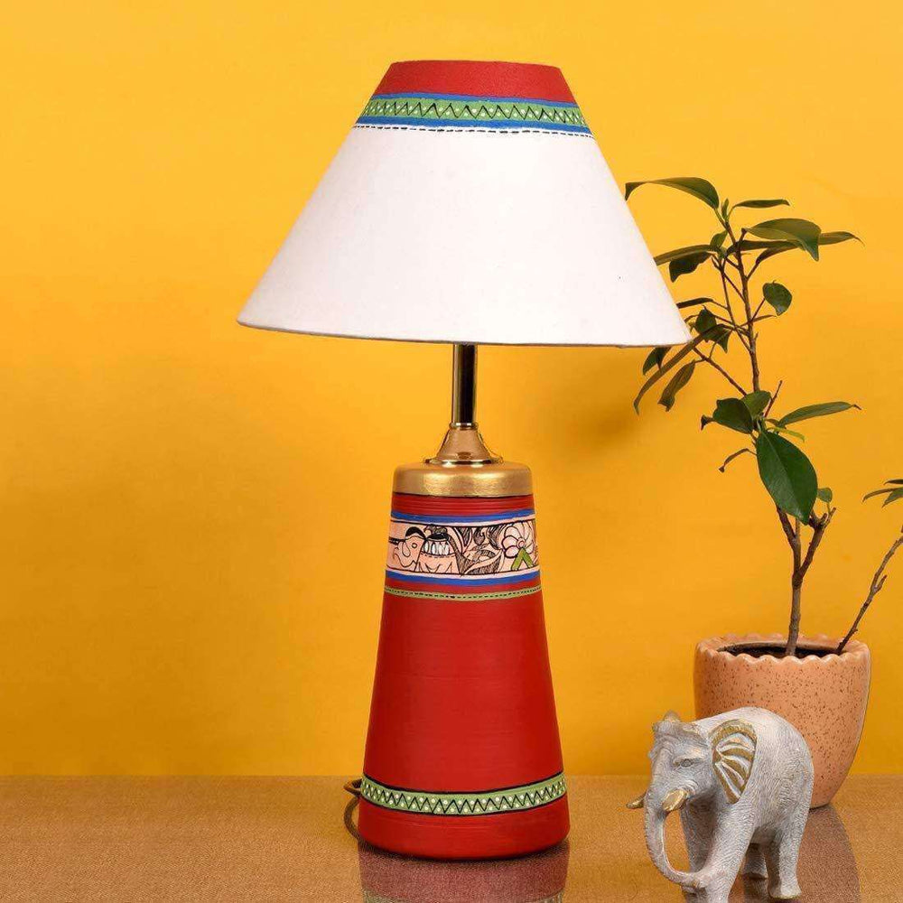 Decorative Bedside Table Lamp For Bedroom| Terracotta Table Lamp With Shade - artystagallery