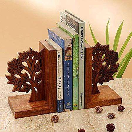 Engraved Bookends In Sheesham Wood - Bookshelf for Decorative| Book Rack - artystagallery