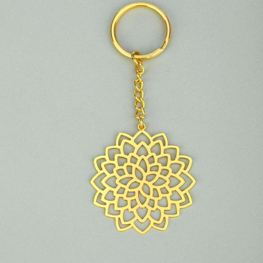 Floral Lotus Brass Key Chain - artystagallery