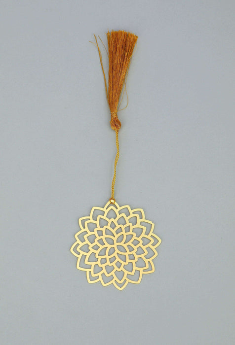 Floral Lotus Golden Brass Metal Bookmark with Golden Tassel - artystagallery