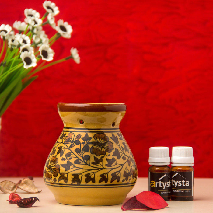 Flower Ceramic Aroma Oil Burner With Two Fragrance - artystagallery