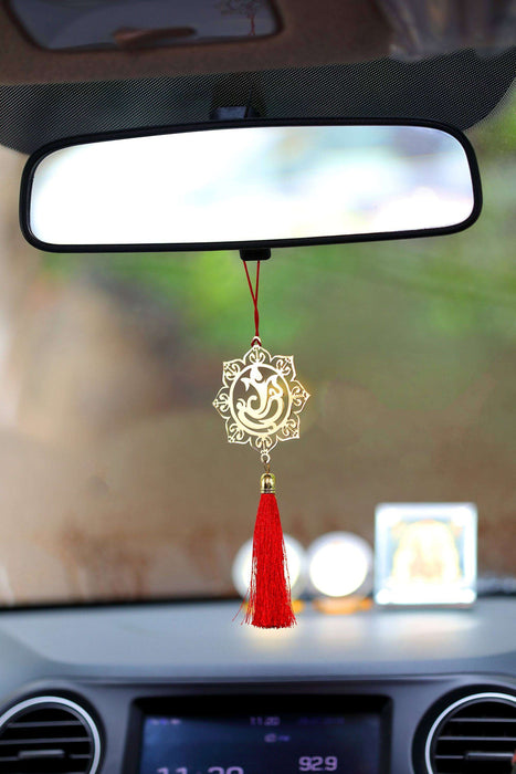 Gol Ganesha Hanging Accessories for Car rear view mirror Decor in Brass - artystagallery