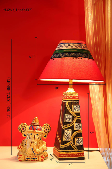 Hand-Painted Table Lamp in Wooden -Decorative Gift Bedside Table Lamps for Living Room - artystagallery