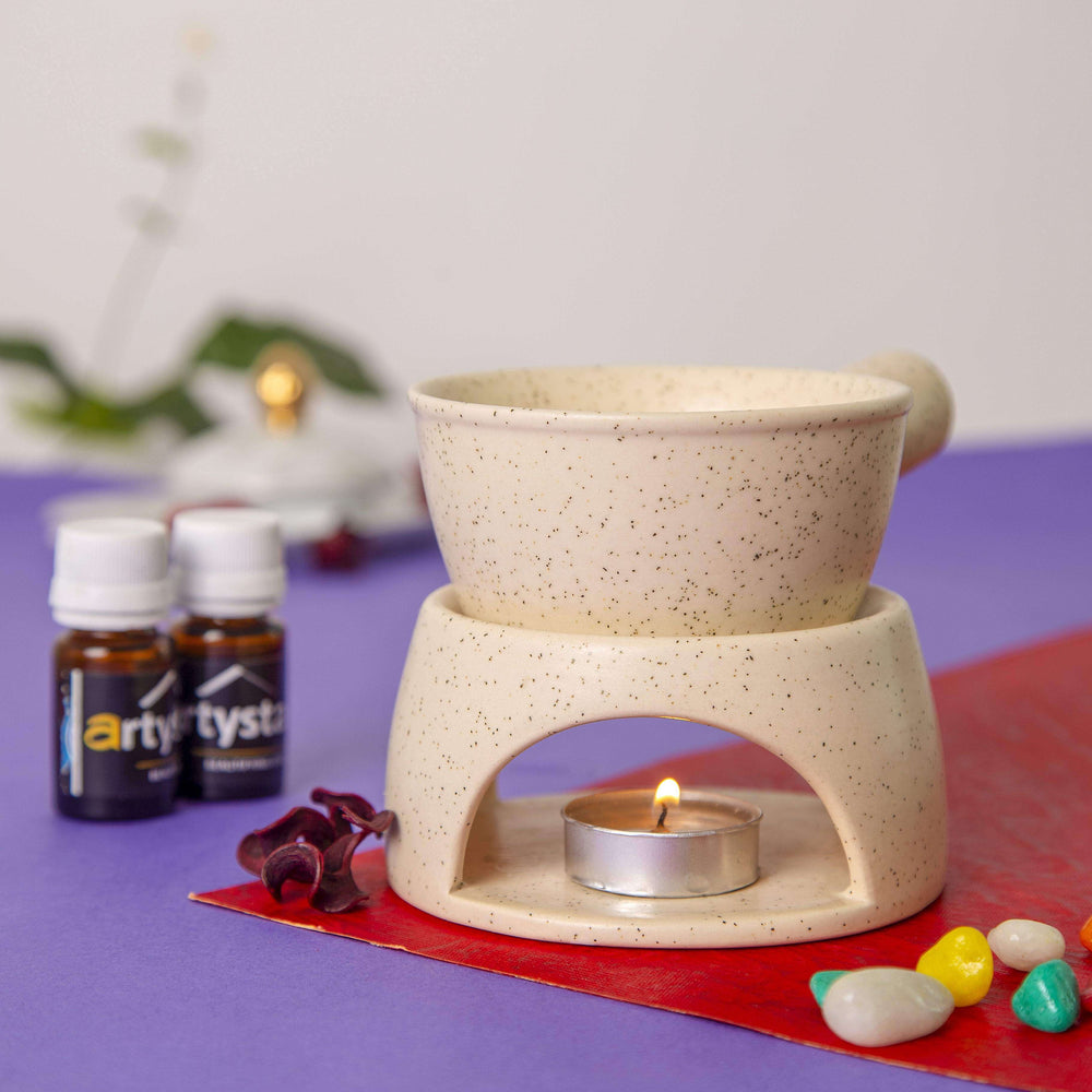 Handcrafted Ceramic Aroma Oil Diffuser Fondue with Fragrance | Aroma Diffuser Gift Item - artystagallery