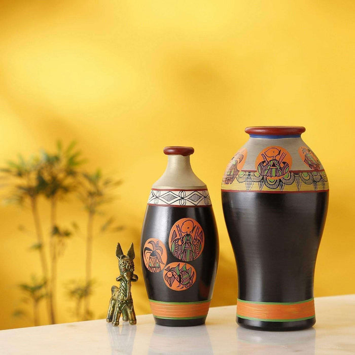 Handcrafted Earthen Terracotta Warli Painting Vases |Vases Set of 2| Vases For Home Decor - artystagallery