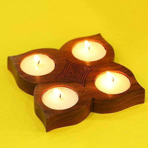 Handcrafted Sheesham Wood Table Top Tea Light Holder | Candle Tealight Holder| Gift Items - artystagallery