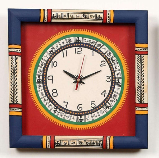Handcrafted Traditional Wooden Wall Clock for Home| Wall clock for bedroom with Warli art - artystagallery