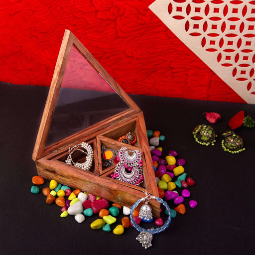 Handcrafted Triangle Wooden Jewelry Organizer - artystagallery