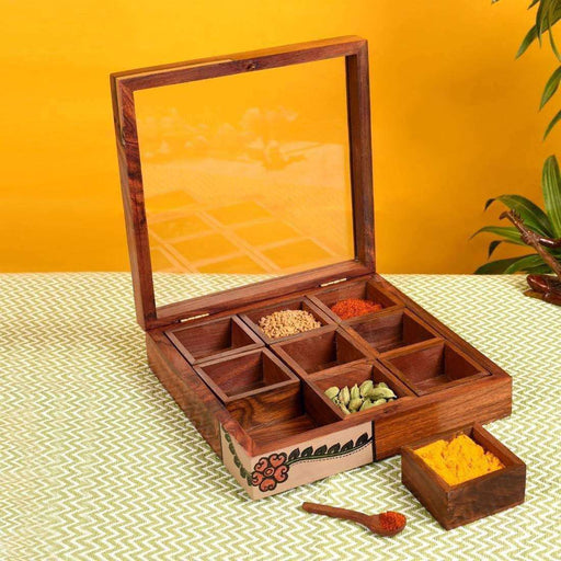 Handcrafted Wooden Masala Box With Spoon For Kitchen -Wooden Multi Utility Box With 9 Container - artystagallery