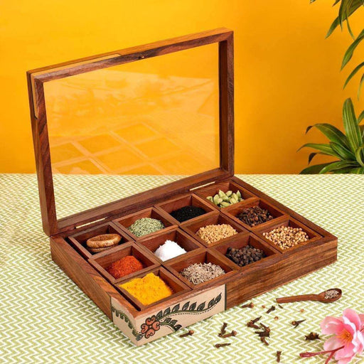 Handcrafted Wooden Masala Box With Spoon- Spice box For Kitchen Wooden Spice Box With 12 Container - artystagallery