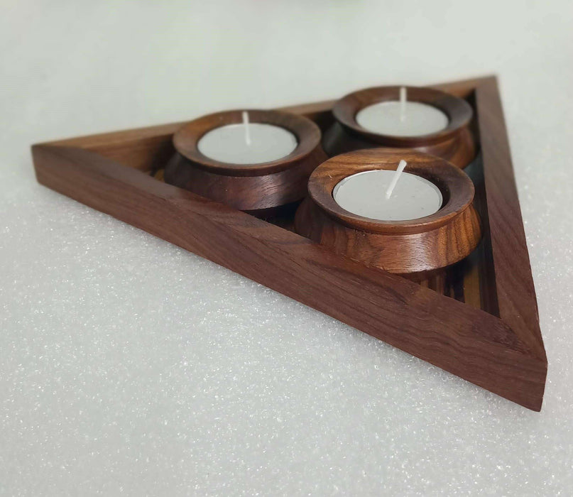Handcrafted Wooden Table Top Tea Light Holder | Tealight Candle Holder - artystagallery
