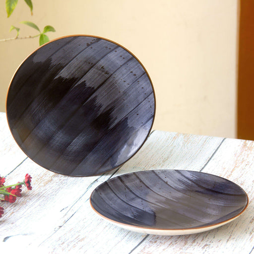 Handmade Black Stoneware Serving Dinner Plate/ Quarter Plate Set of 2 - artystagallery