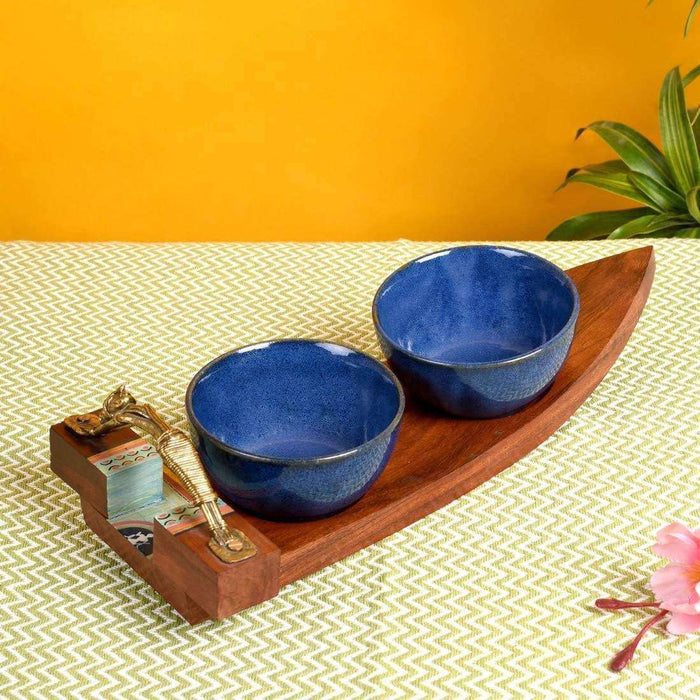 Handmade Wooden Tray With Ceramic Bowls | Serving Tray With Two Soups Bowls - artystagallery