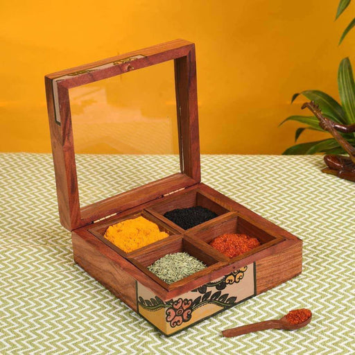 Handmade Wooden Utility/ Wooden Masala Box With Spoon- Spice Box For Kitchen With 4 Container - artystagallery