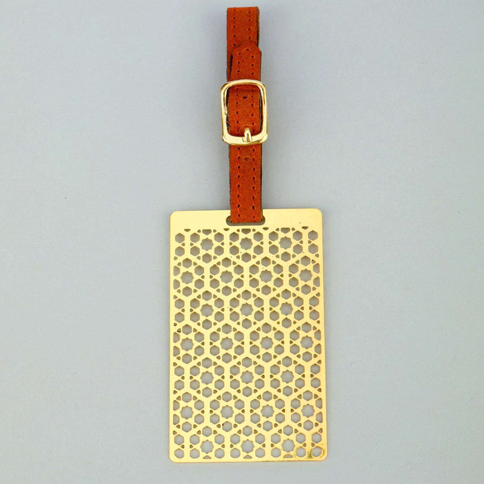 Hexagon Brass Metal Travel Luggage Suitcase Label ID Tag with genuine leather straps - artystagallery