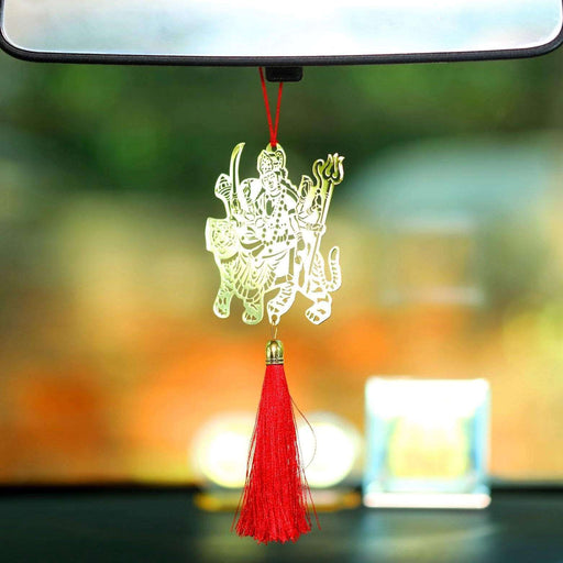 Hindu Goddess Sherawaali Car hanging décor accessories in Brass - artystagallery