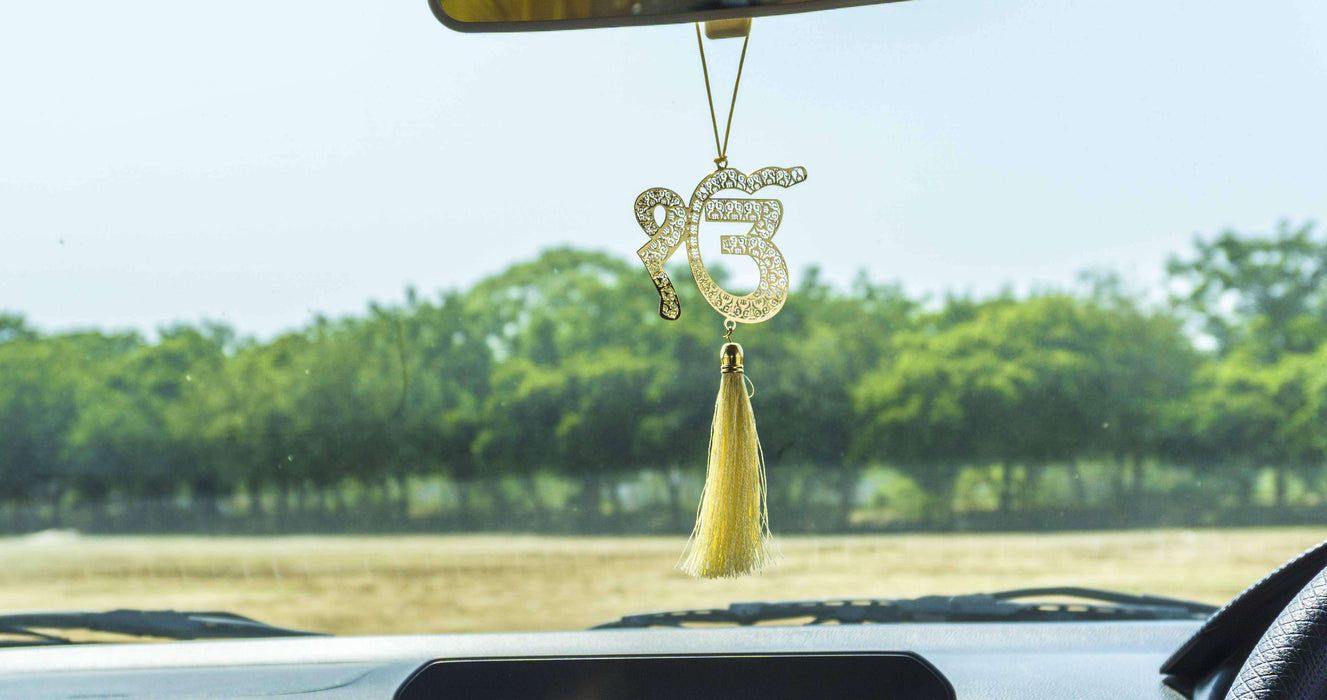 Ik Onkar Sikh Punjabi Hanging Accessories for Car rear view mirror Decor in Brass - artystagallery