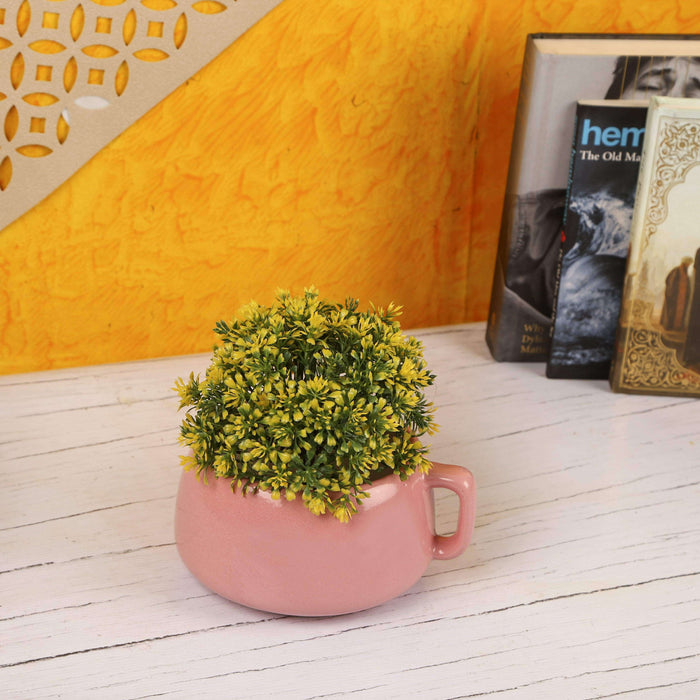 Indoor Ceramic Cup Planter Outdoor Garden Decorative Pots - Pink - artystagallery
