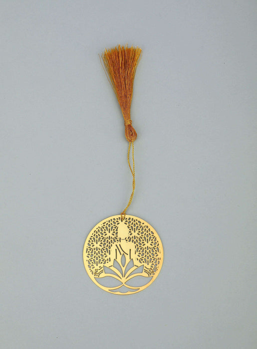 Jaali Buddha Golden Brass Metal Bookmark with Golden Tassel - artystagallery