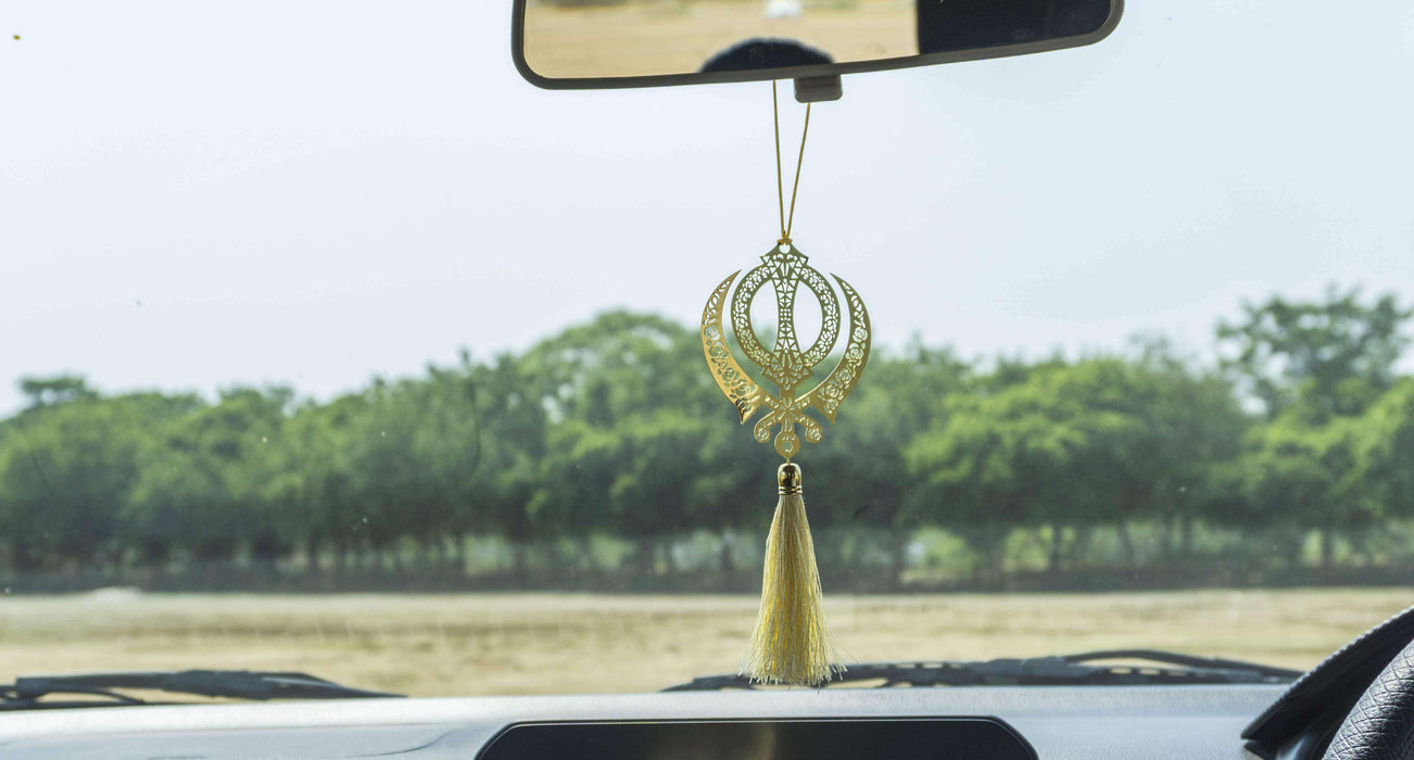Khanda Punjabi Sikh Hanging Accessories for Car rear view mirror Decor in Brass - artystagallery