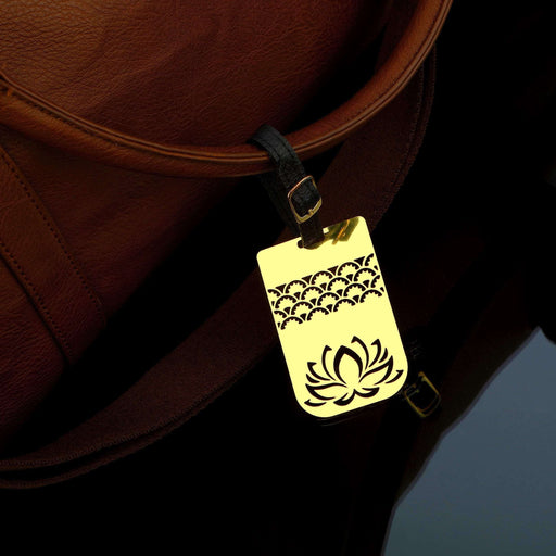 Lotus Brass Metal Travel Luggage Suitcase Label ID Tag with genuine leather straps - artystagallery