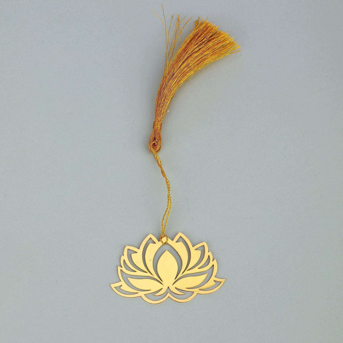 Lotus Golden Brass Metal Bookmark with Golden Tassel - artystagallery
