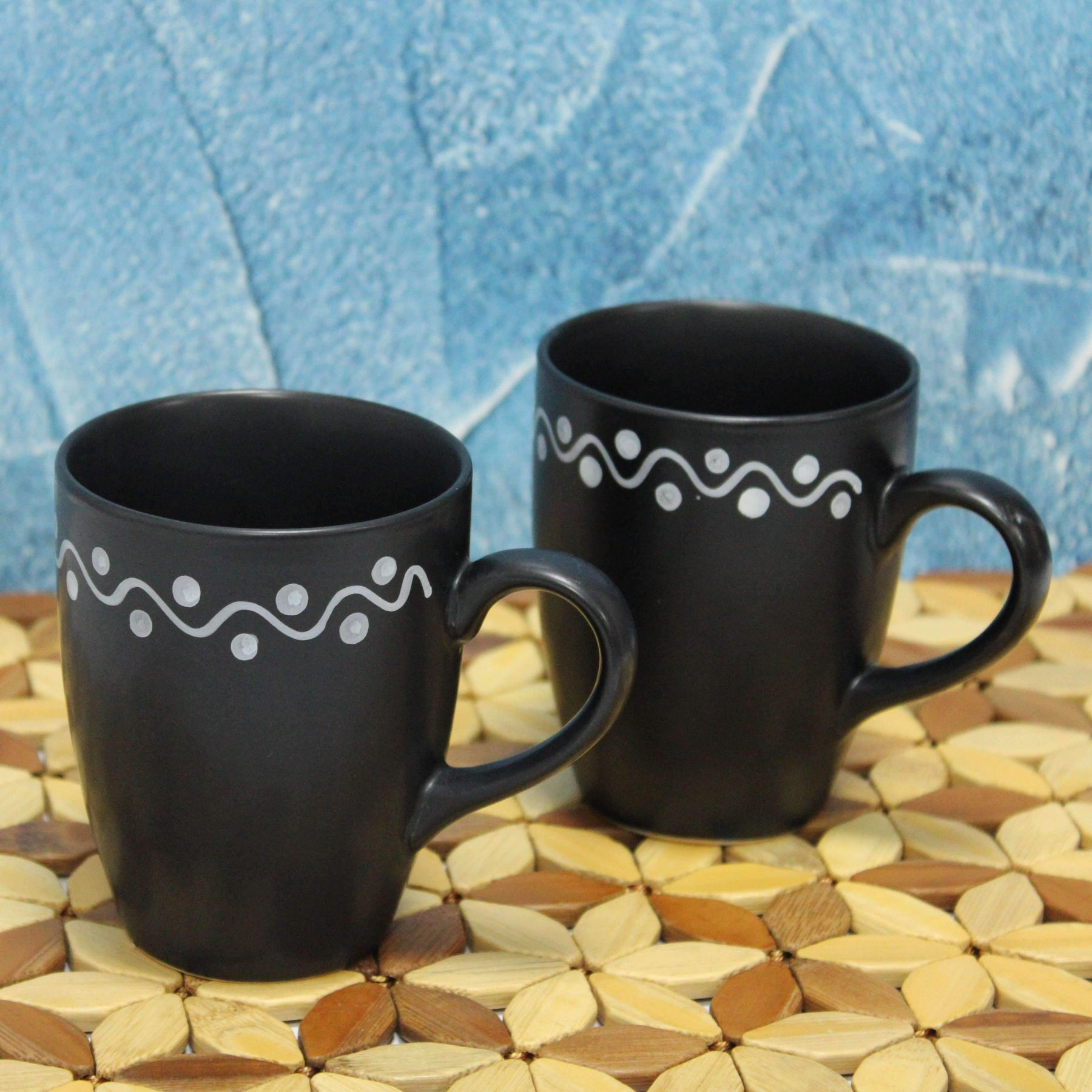 """Mottled Mug"" Set of 2 Ceramic Coffee Mug in Black Color - artystagallery"