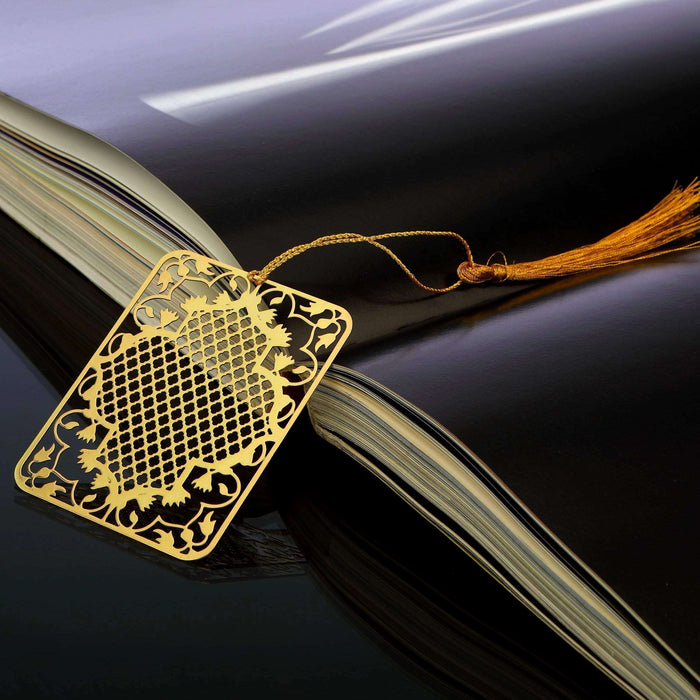 Ornamental Taj Golden Brass Metal Bookmark with Golden Tassel - artystagallery