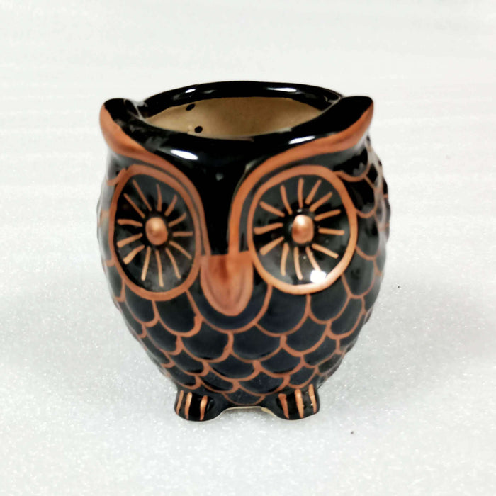 Owl Planter | Handmade Black Ceramic Owl Planter For Home - artystagallery