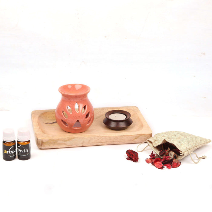 Pink Aroma Oil Diffuser Set With Mango Wooden Platter / Gift Item - artystagallery