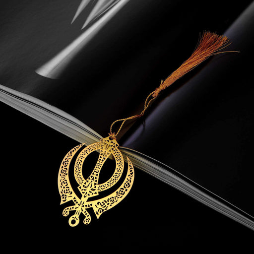 Punjabi Sikh Khanda Symbol Golden Brass Metal Bookmark with Golden Tassel - artystagallery
