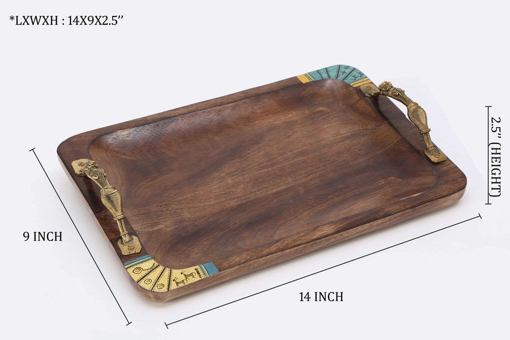 Rectangle Wooden Tray with Antique Touch/Serving Tray/Decorative Antique Tray - artystagallery