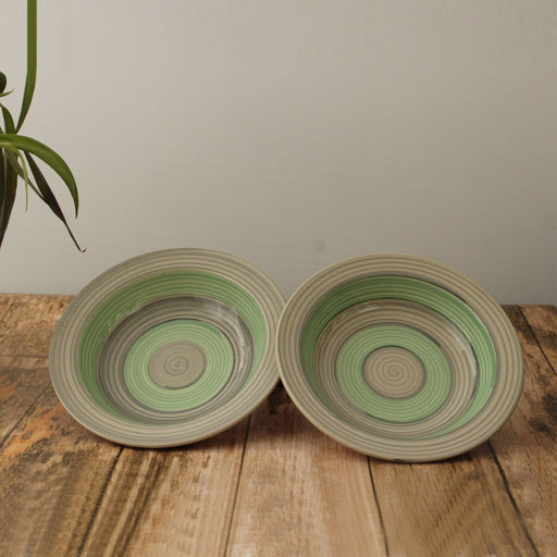 'Rings of Beauty' Set of 2 Ceramic Pasta Plate Cum Soup Bowl - artystagallery