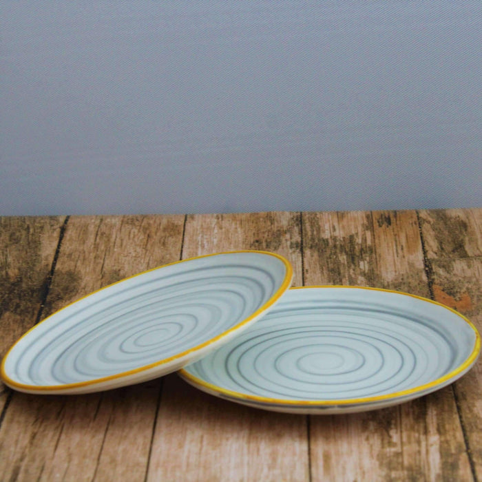'Rings of Beauty' Set of 2 Ceramic Quarter Plates - artystagallery